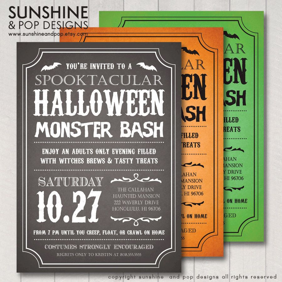 Halloween Invitations Adult or Child DIY Printable Party