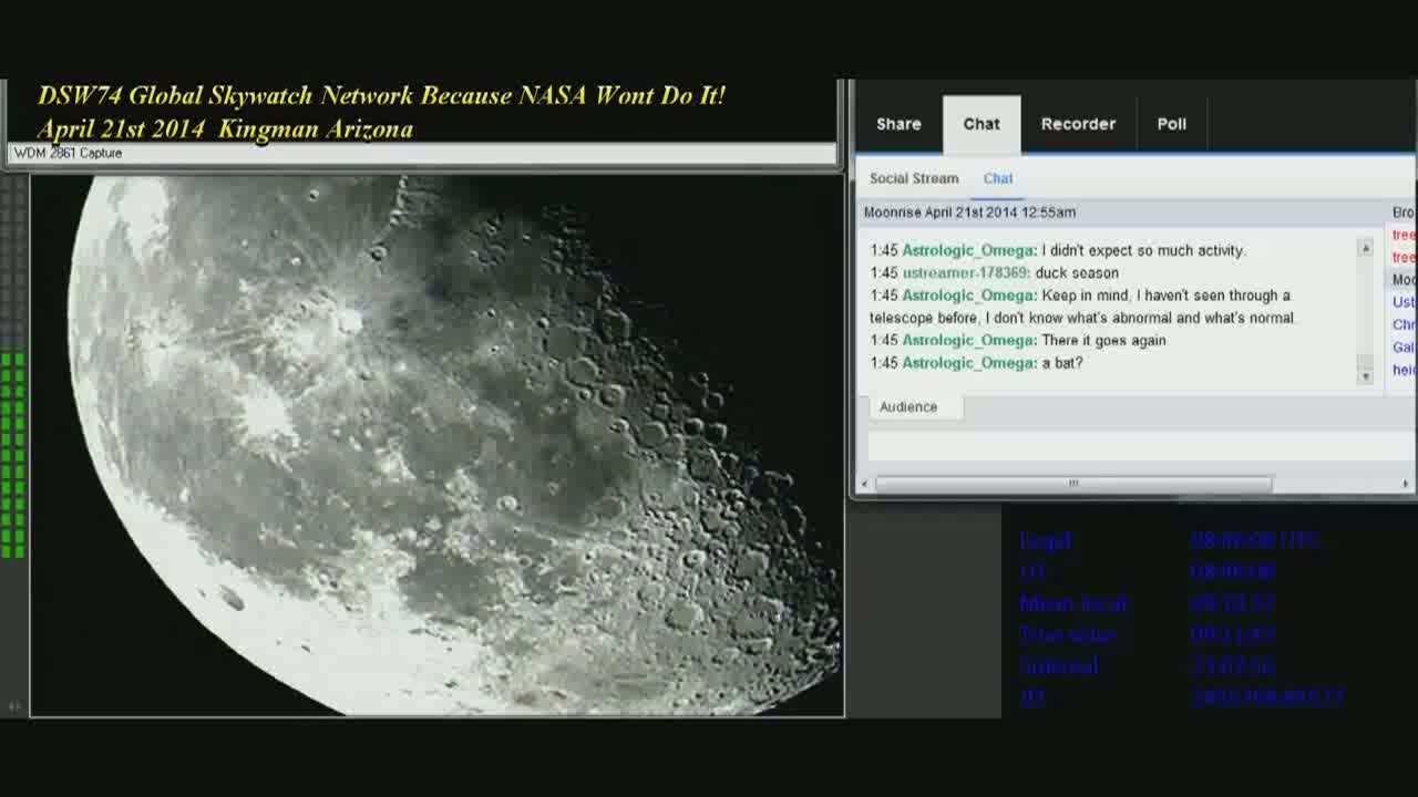 UFO Fleet Moon April 21st 2014 Global Skywatch Network [Video]