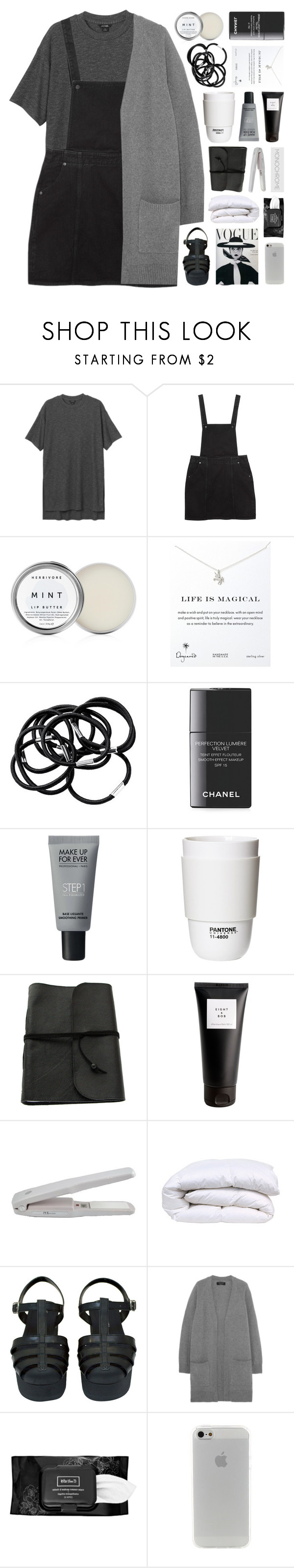 """""""Bilingual"""" by bosspresident ❤ liked on Polyvore featuring Monki, Herbivore, Dogeared, H&M, Chanel, MAKE UP FOR EVER, ROOM COPENHAGEN, Eight & Bob, rag & bone and Kat Von D"""