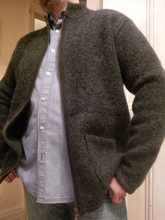 Boiled Wool Men Dark Grey Jacket Size L Aabi Jacket Ideas Wool