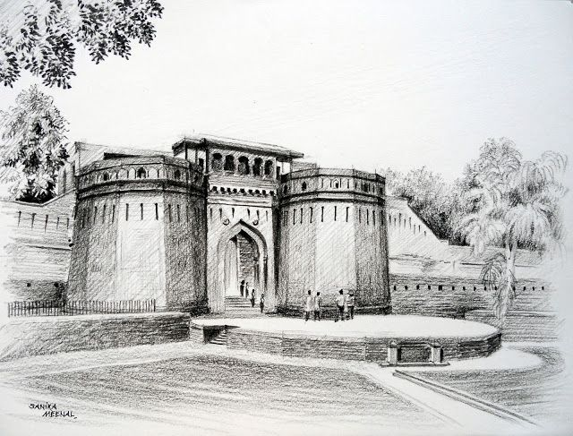 Arteworld by sanika dhanorkar 104 charcoal sketch shaniwar wada pune sketches paintings pinterest charcoal sketch pune and sketches