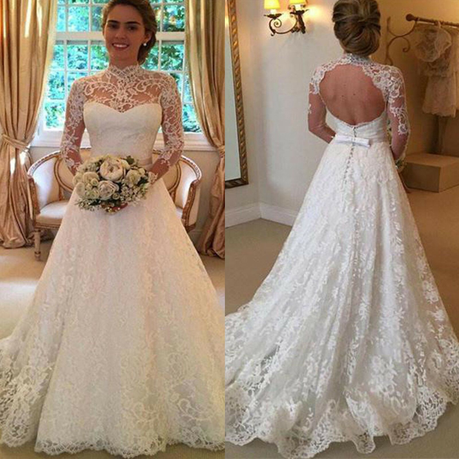 Awesome Amazing Women White Wedding Dresses Full Lace Long Sleeve Dress Backless Bridal Gowns Hochzeitskleider Spitze Hochzeitskleid Spitze Ballkleid Hochzeit [ 1600 x 1600 Pixel ]