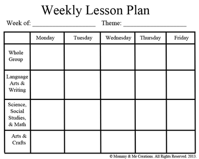 Weekly Preschool Lesson Plan Template From Mommy Me Creations On
