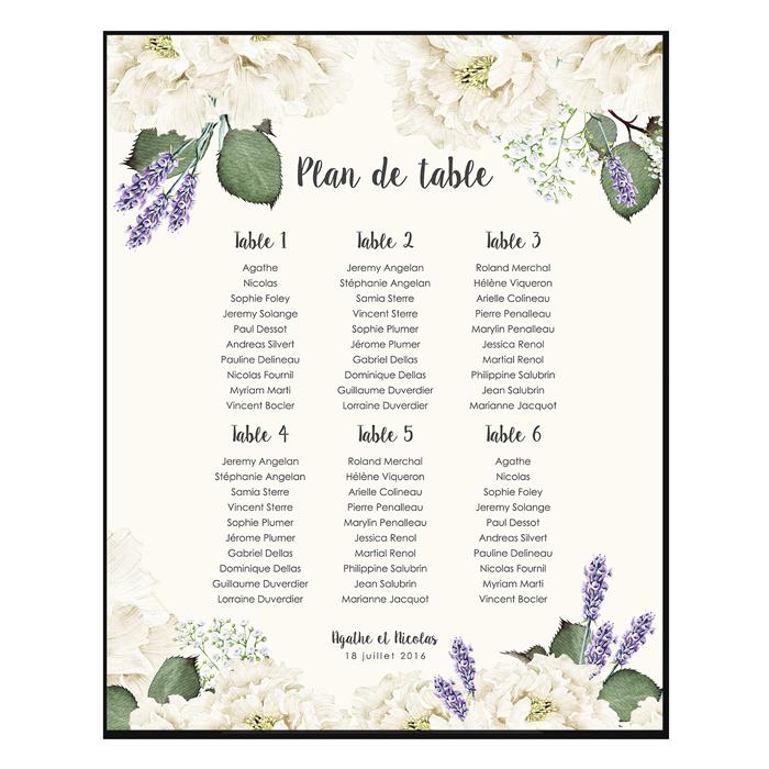 Le bouquet de la mariée - Provence - Plan de table en 2020   Bouquet mariée, Plan de table ...