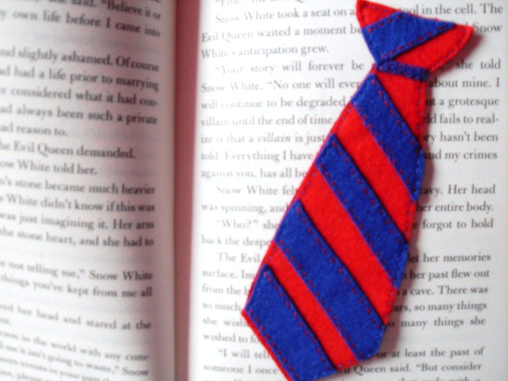 Glee The Warbler's Tie Felt Bookmark. $7.00, via Etsy.
