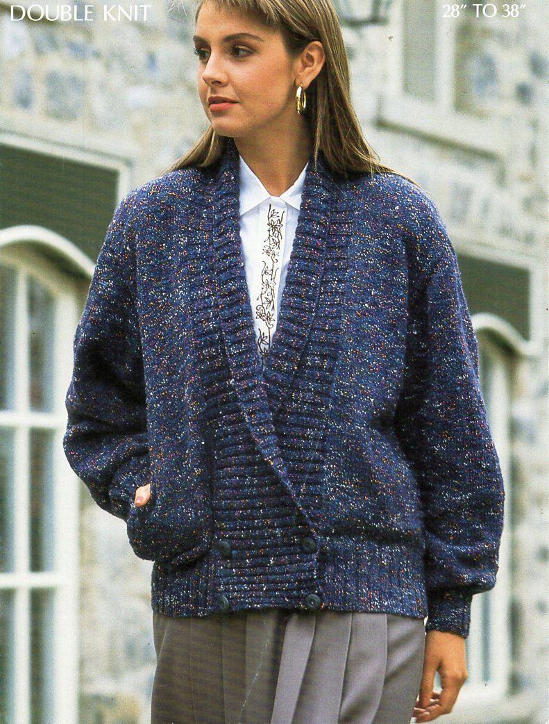 vintage ladies jacket knitting pattern pdf DK womens shawl collar ...