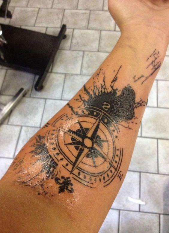 Compas North Trash Polka Tattoo On Hand Tattoos Tattoos Trash