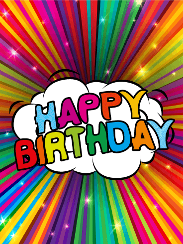 Colorful Rainbow Happy Birthday Card This Glitzy Birthday Card