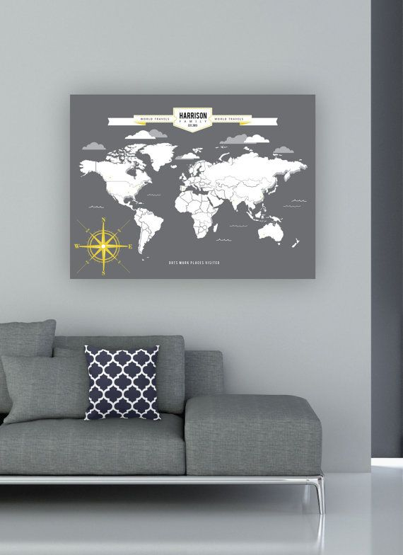 World traveler map interactive family map mark the places you world traveler map interactive family map mark the places youve visited personalized gallery wrapped canvas or print gumiabroncs Image collections