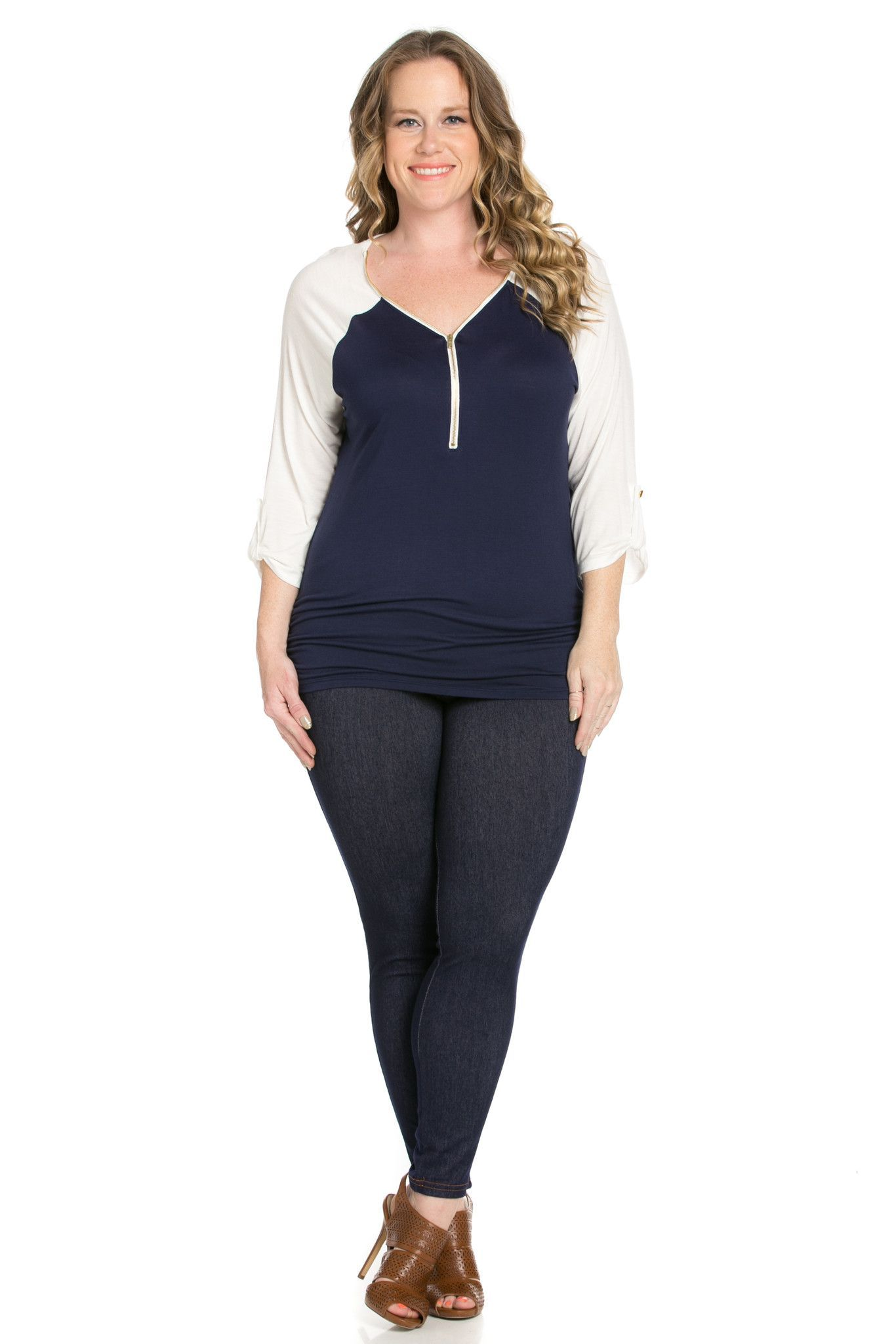Zippered Front Two Tone Navy/White Top