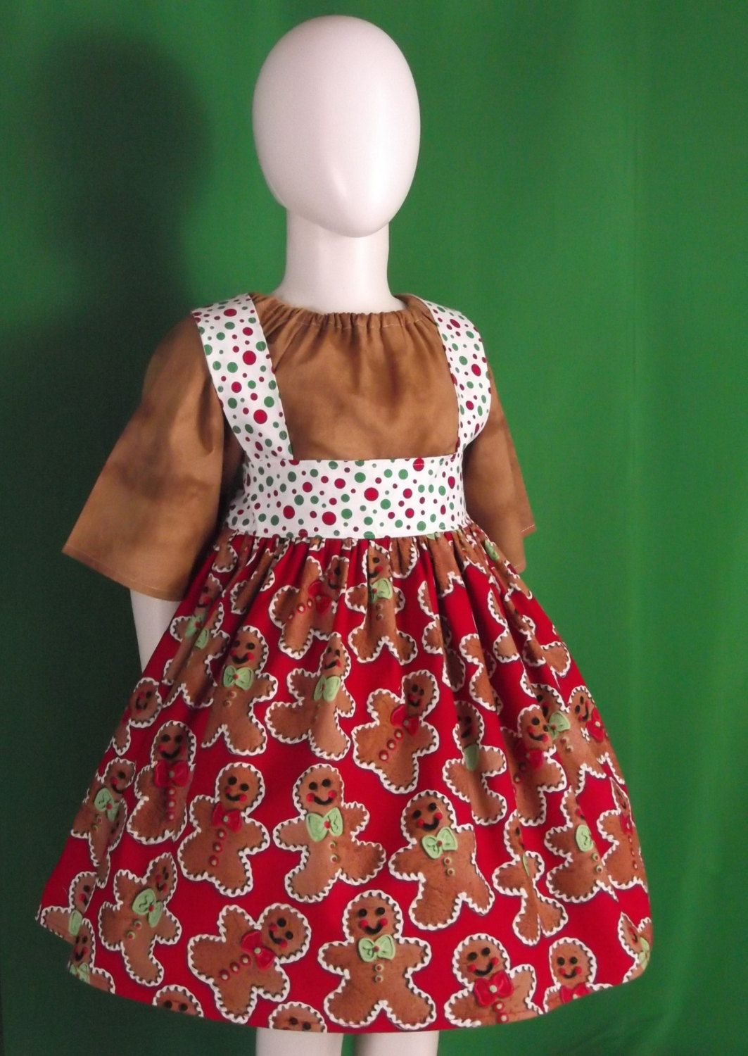 Toddler /& Girls Christmas Holiday Red Green FLORAL Boutique Ruffle Peasant Dress