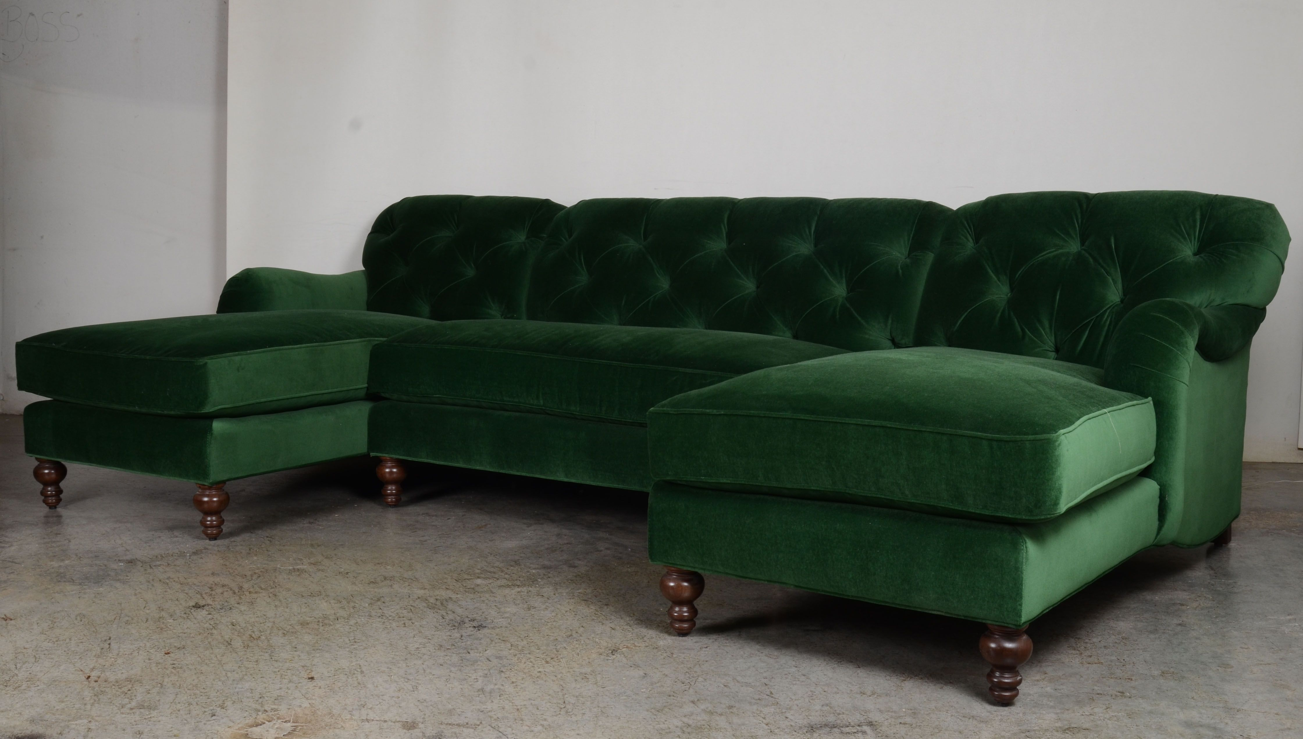 Our Eastover Double Chaise Sectional In Emerald Velvet Emerald