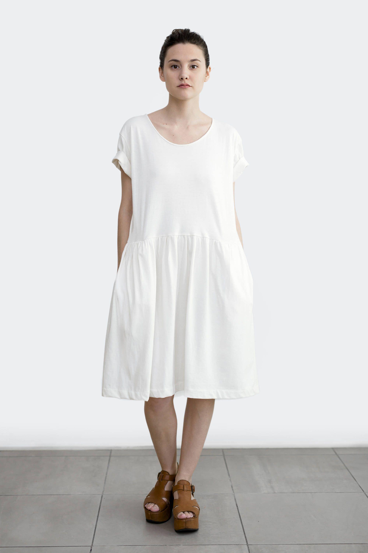 Organic cotton dress white loose dress short sleeve