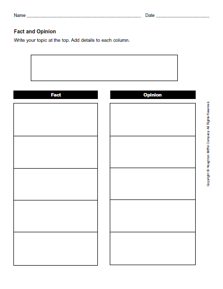 fact and opinion graphic organizer 2nd grade 1000 ideas
