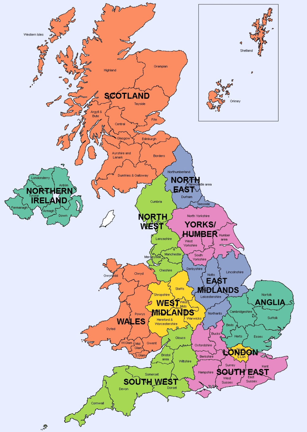 Map Of Counties In England 2020.Large Area Map In 2020 Map Of Britain England Map Area Map