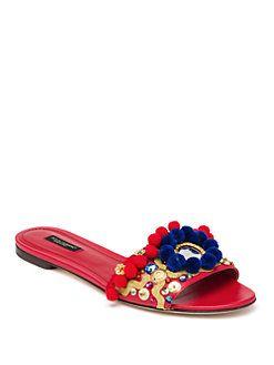 Dolce & Gabbana - Pom-Pom Slide Sandals