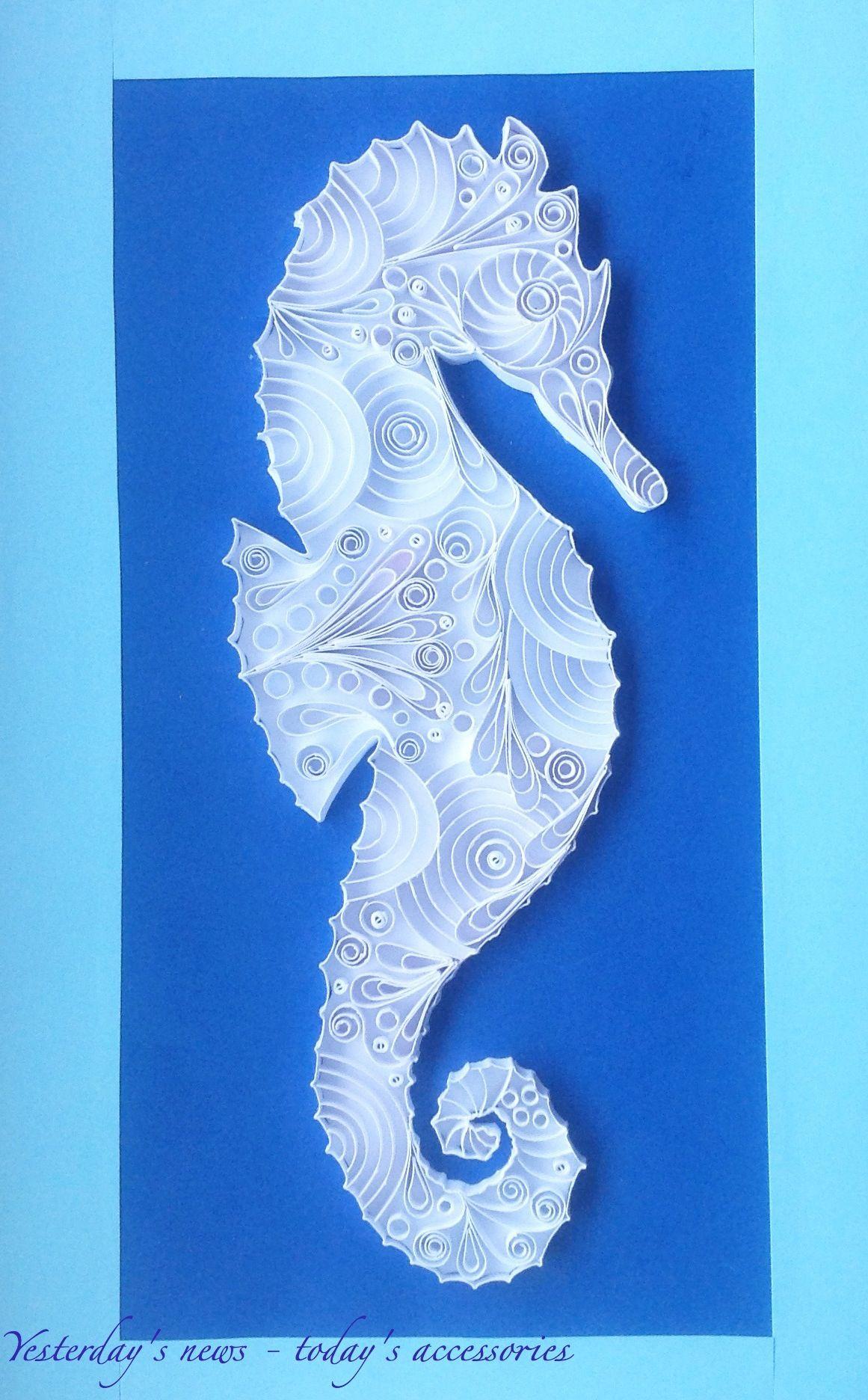 Quilled paper seahorse, 12 x 24 cm