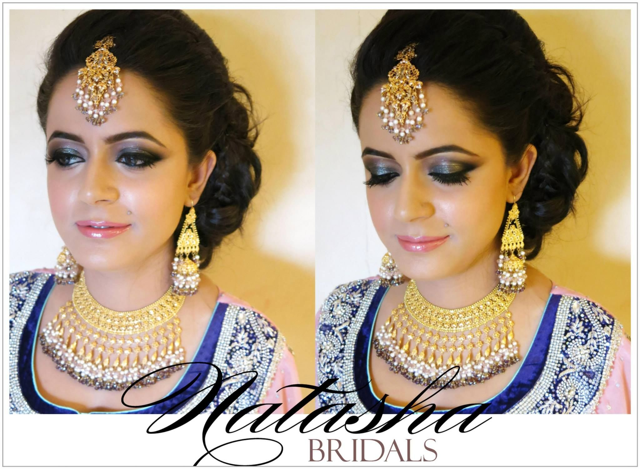 gorgeous valima bride in glittering hues of blue, purples and pinks with super glossy pink lips and our 100 watt skin by Natasha