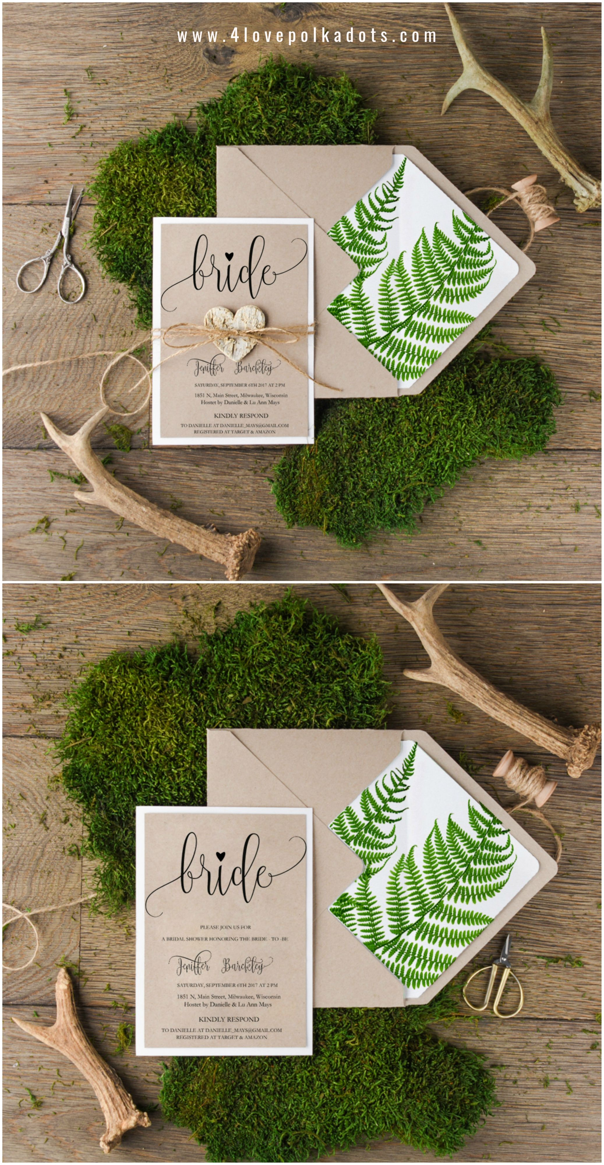 e1a6b5924826 Bridal Shower Eco friendly Fern Invitations  botanical  wedding  bridetobe   bridalshower  calligraphy  eco