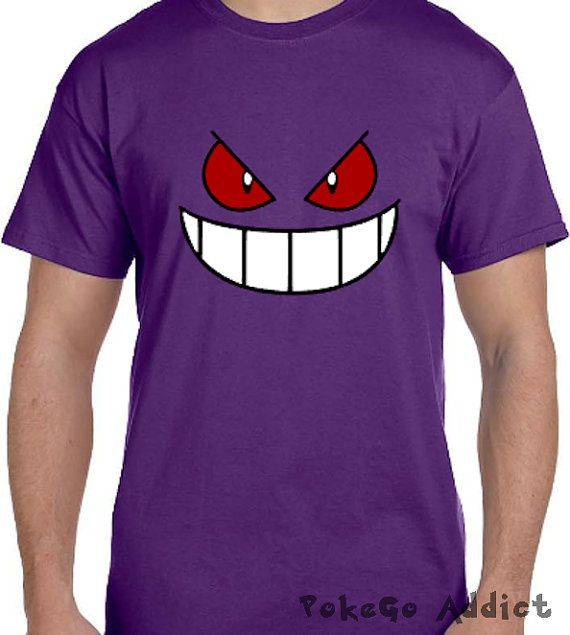 60b0c690 Gengar Face Pokemon Go Cosplay Parody T-Shirt * Sizes 2T - 6XL ...