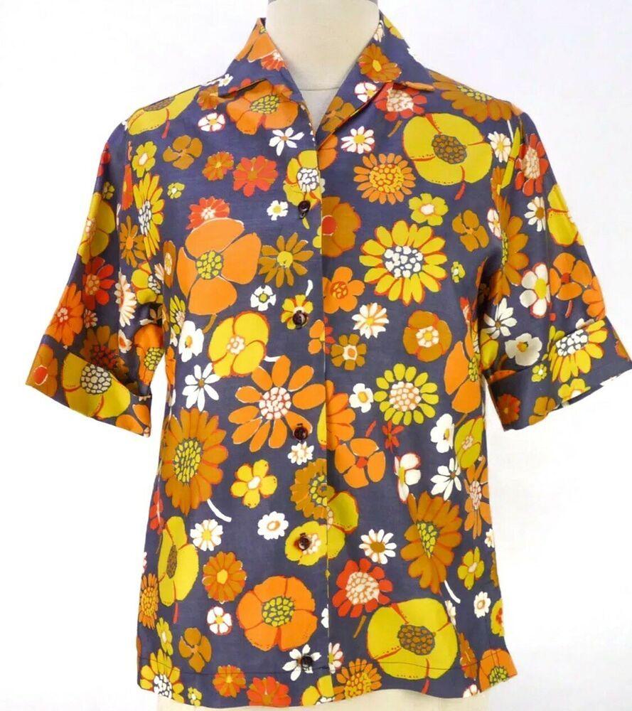 Vintage 60s Flower Power Blouse M Orange Navy Floral Print Bold Notch Collar Ebay Navy Floral Yellow Floral Blouse Vintage Tops