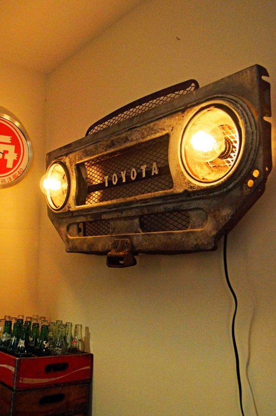 awesome toyota 2017 vintage toyota land cruiser fj40 grille bib steampunk lighting wall art. Black Bedroom Furniture Sets. Home Design Ideas