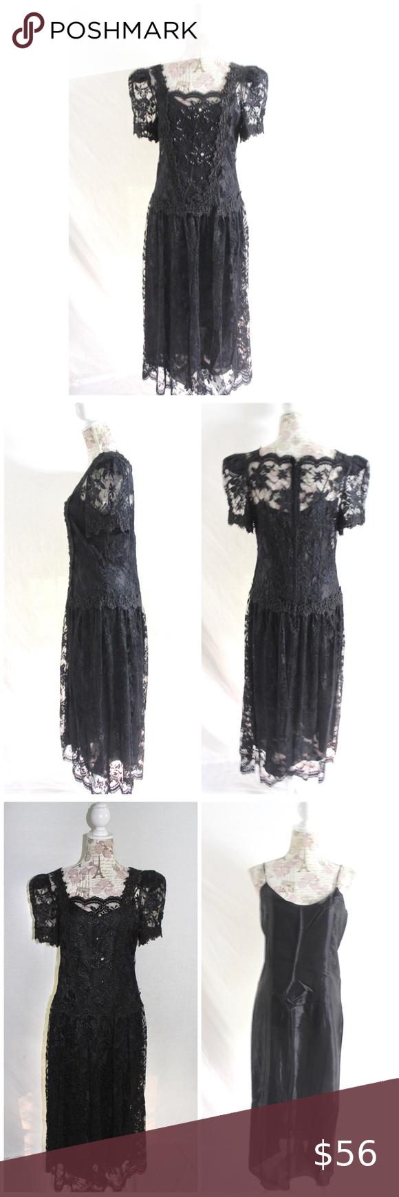 Vintage 80s Black Lace Dress Cachet Bari Protas Black Lace Dress Black Lace Midi Dress Black Slip Dress [ 1740 x 580 Pixel ]