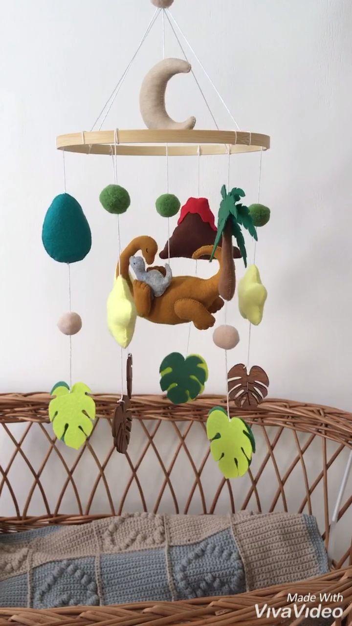Dinosaur mobile Baby boy mobile for dinosaur nursery Felt | Etsy