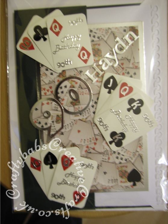 Male 90th birthday Bridge Playing cards