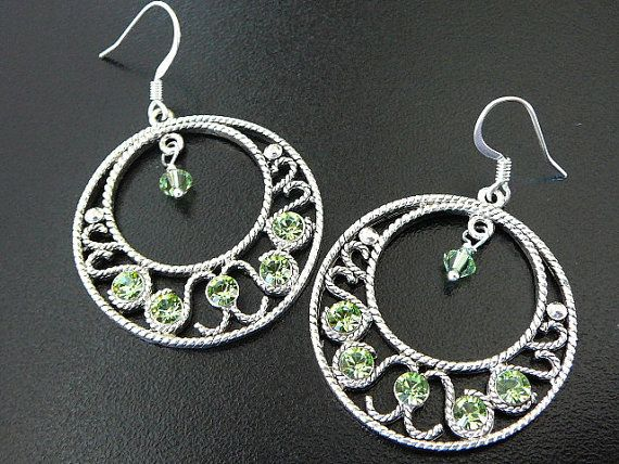 August Birthstone Gypsy Hoop Earrings With Peridot Swarovski Crystal Free Shipping To Canada And