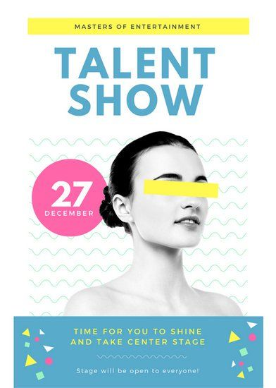 Turquoise Yellow Female Talent Show Flyer Design Inspo Pinterest
