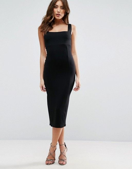542d2fc297ad Thick Strap Square Neck Midi Bodycon Dress