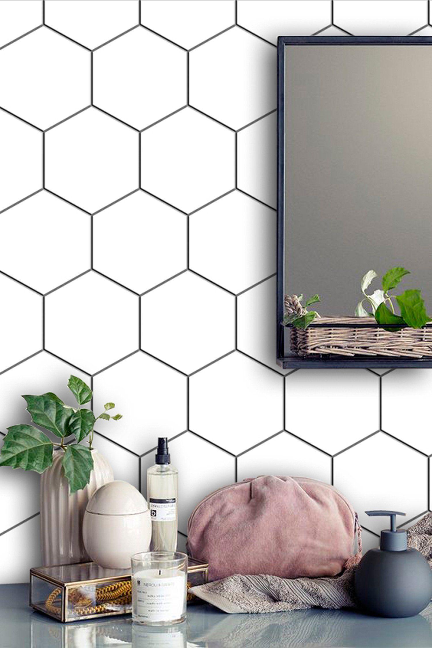 - Kitchen And Bathroom Splashback - Removable Vinyl Wallpaper - Hexa