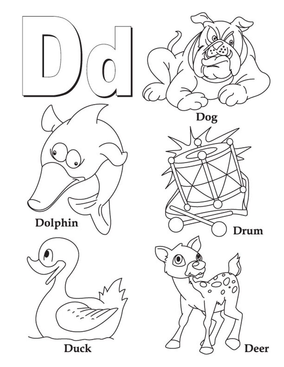 Alphabet Coloring D Words Printable Alphabet Coloring