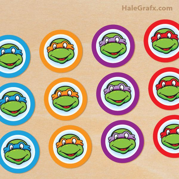 Free Printable Classic TMNT cupcake toppers Alejandros 6th