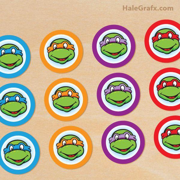 Free Printable Classic TMNT cupcake toppers – Free Teenage Mutant Ninja Turtles Birthday Invitations