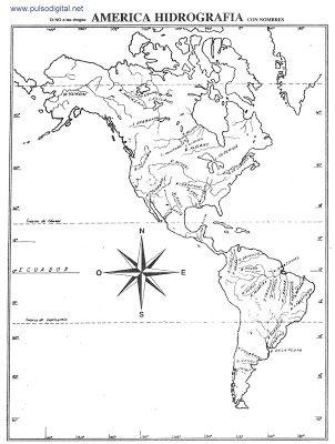 Mapa De La Hidrografía De América Con Nombres Hidrografia