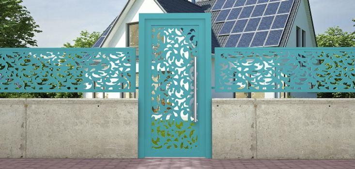 Puerta de jardín (cancelín) exterior con marco y diseño abstracto