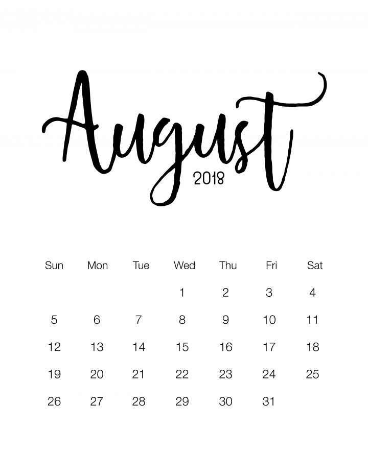 Free Printable 2018 Minimalistic Calendar Calendar 2018