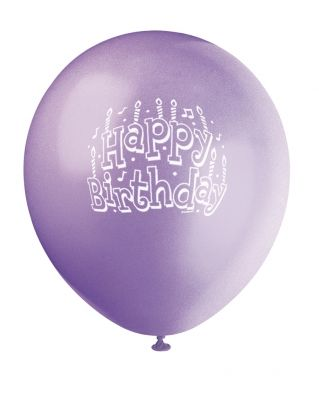 Spring Lavender Printed Happy Birthday Balloon