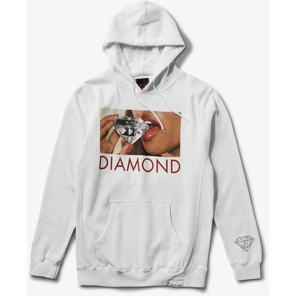Diamond Lips Pullover Hood in White ($80) ❤ liked on Polyvore featuring tops, hoodies, diamond hoodies, diamond tops, white top and white hoodies