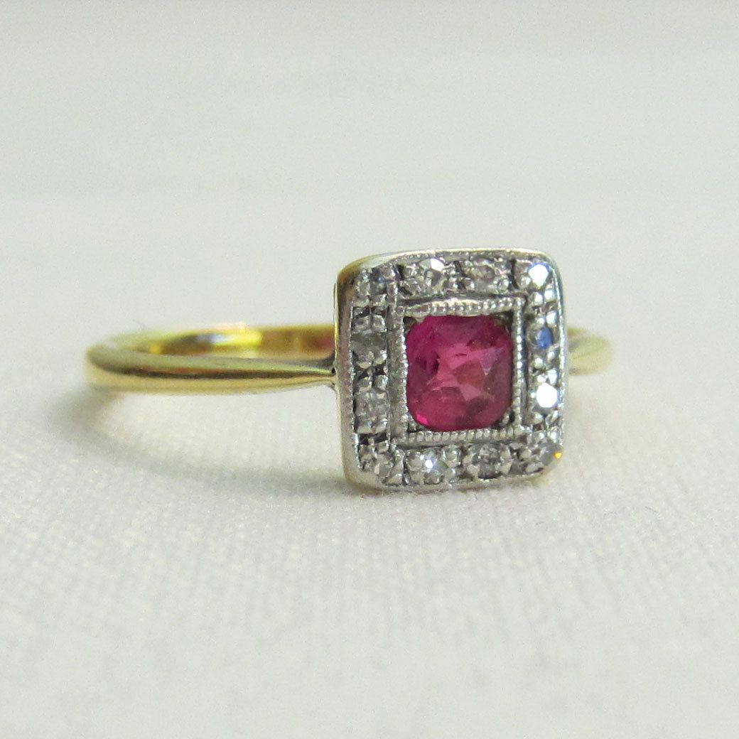 Vintage Wedding Rings 1920 | RESERVED. Antique Ruby Engagement Ring With  Diamond Halo. Crica