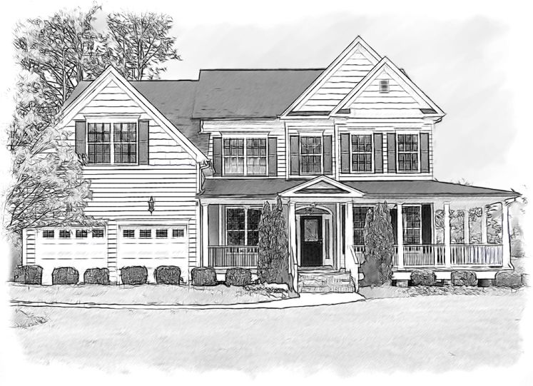 Drawings Of Houses Pencil House Portrait Done In Black And White