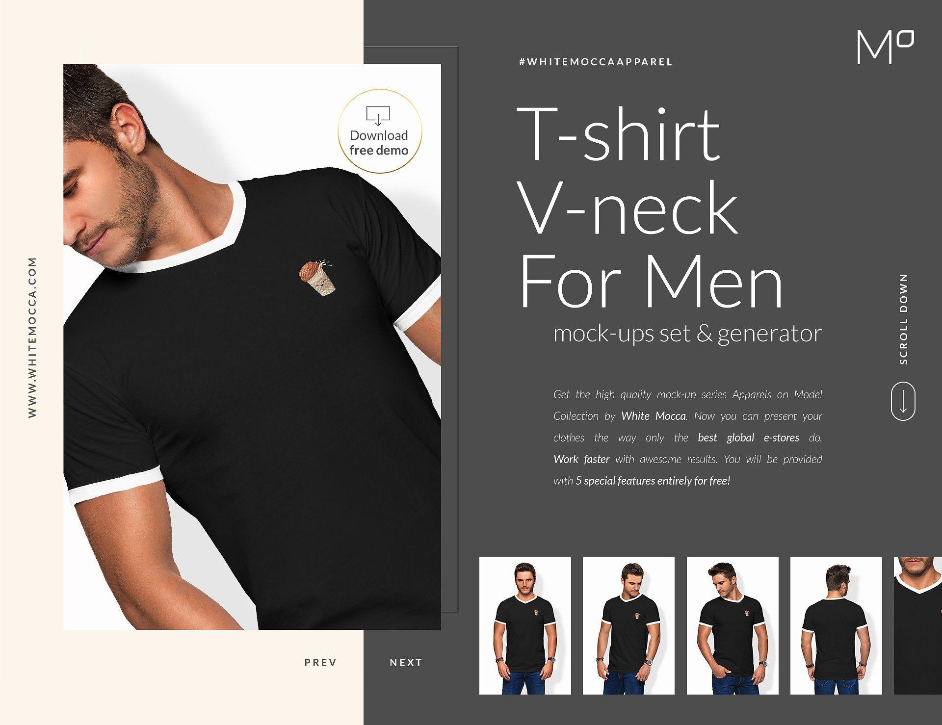 Download Men Vneck T Shirt Mock Ups Free Demo Simply Casual Selling Photos Mocking