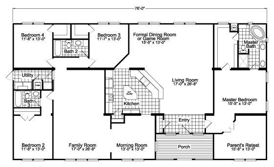 Floor Plan The Gotham Scwd76f8 Modular Home Floor Plans Mobile Home Floor Plans House Plans