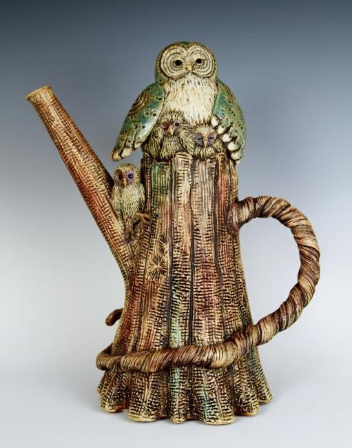 Great Gray Teapot by Terry Ostovar.  I also love owls.  When obsessions collide!                                                                                                                                                      More