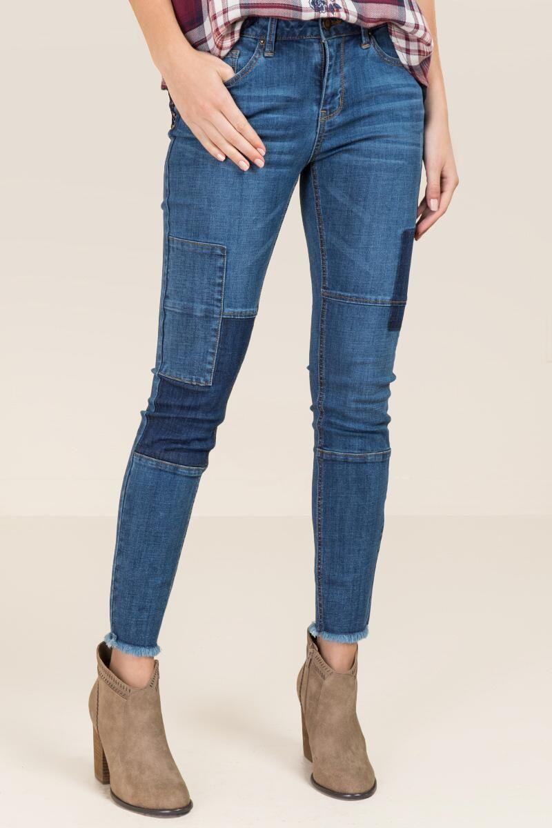 4d31467a0e Harper Mid Rise Shadow Patch Frayed Hem Jeans | francesca's | jeans ...