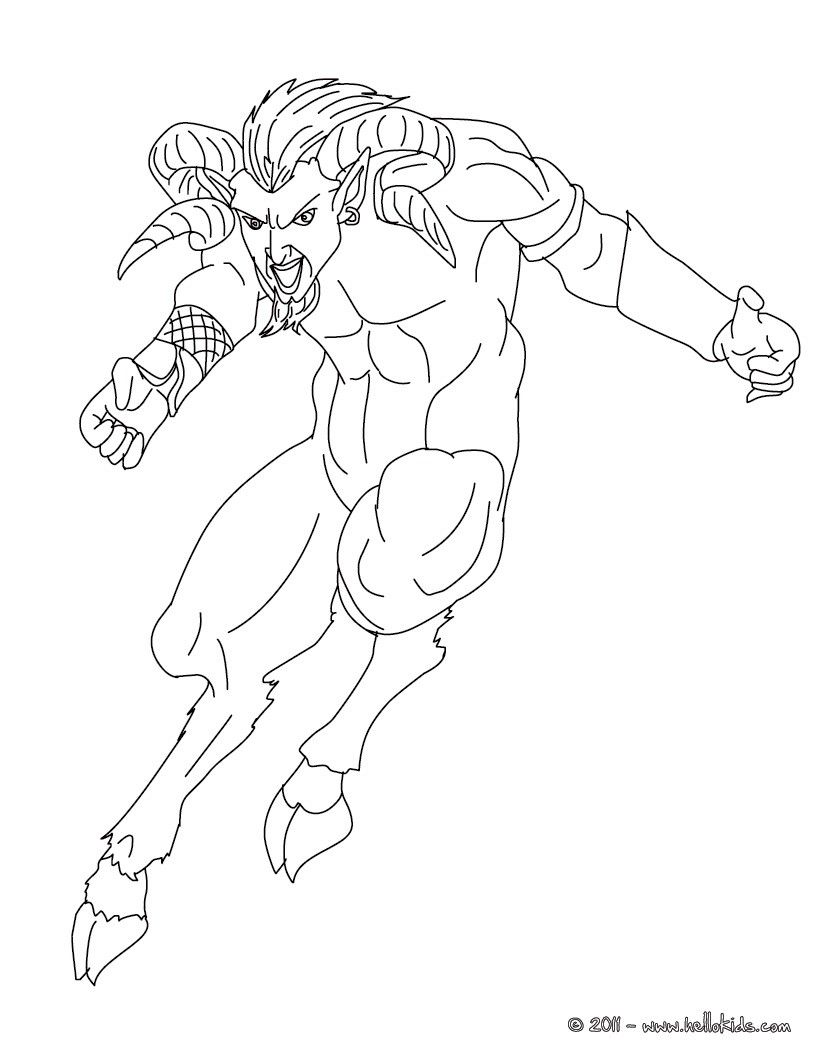 Coloring pages 7 continents - Kleurplaat Satyr The Half Human And Half Goat Creature Coloring Page