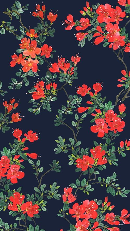 Red flower illustration. fabric flowers surfacepattern