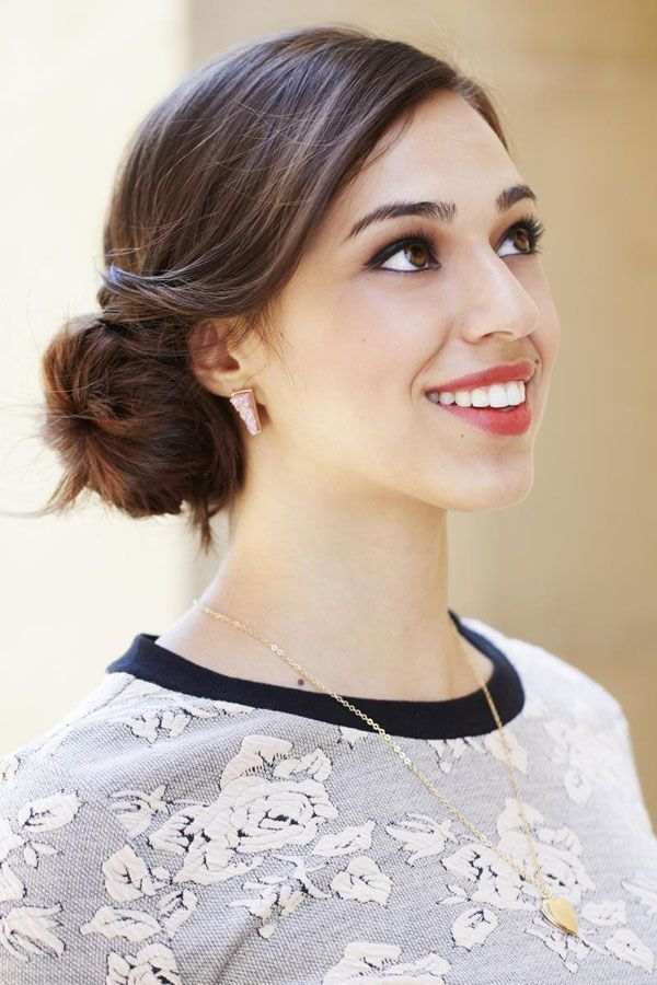 9 Cute Hairstyles For Dirty Hair-Get a classic side-swept chignon in no time! Rub a styling cream between your hands and apply to dry ends. Then twist hair into a knot below your ear